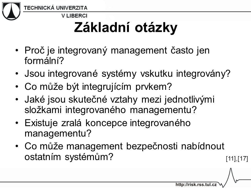 Základní otázky Proč je integrovaný management často jen formální? Jsou integrované systémy vskutku integrovány? Co může být integrujícím prvkem? Jaké