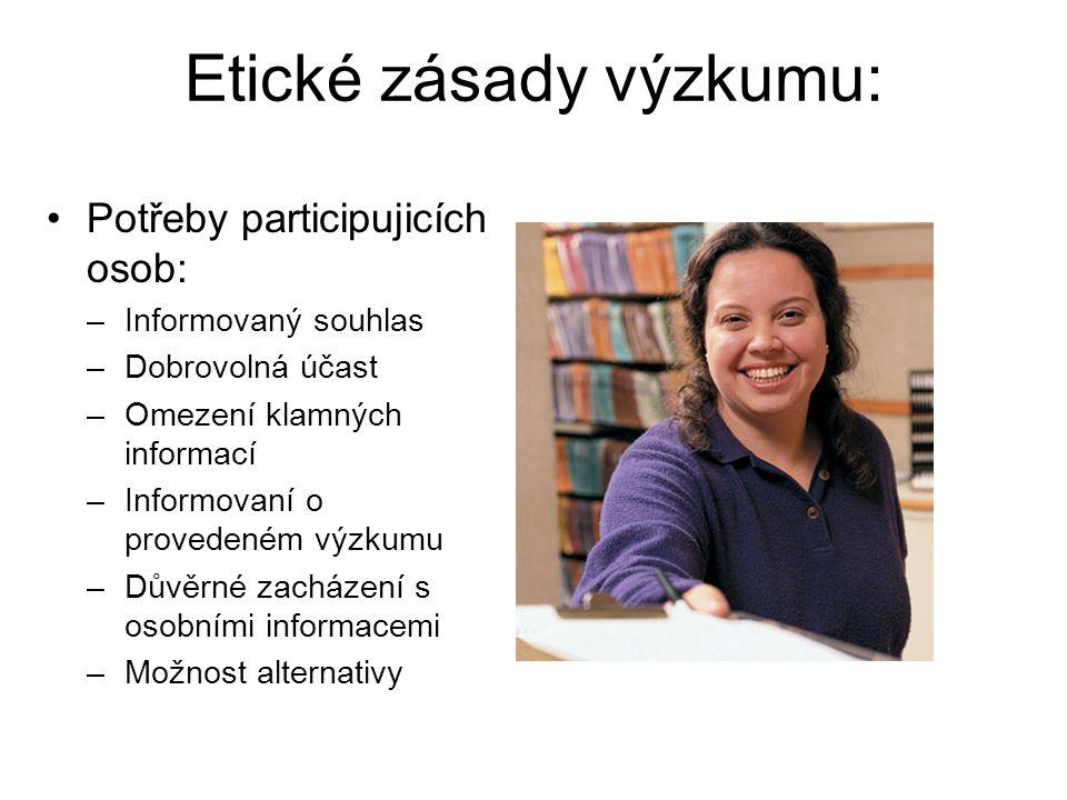 Etické zásady výzkumu: Potřeby participujicích osob: –Informovaný souhlas –Dobrovolná účast –Omezení klamných informací –Informovaní o provedeném výzk