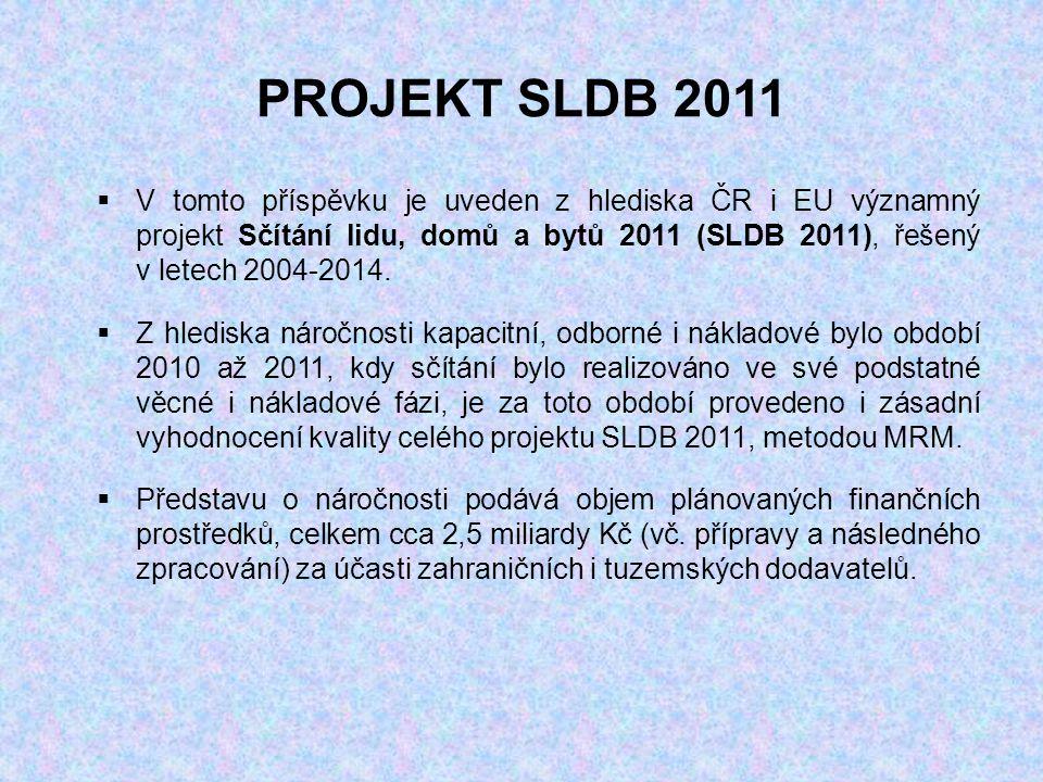 PROJEKT SLDB 2011  V tomto příspěvku je uveden z hlediska ČR i EU významný projekt Sčítání lidu, domů a bytů 2011 (SLDB 2011), řešený v letech 2004-2014.
