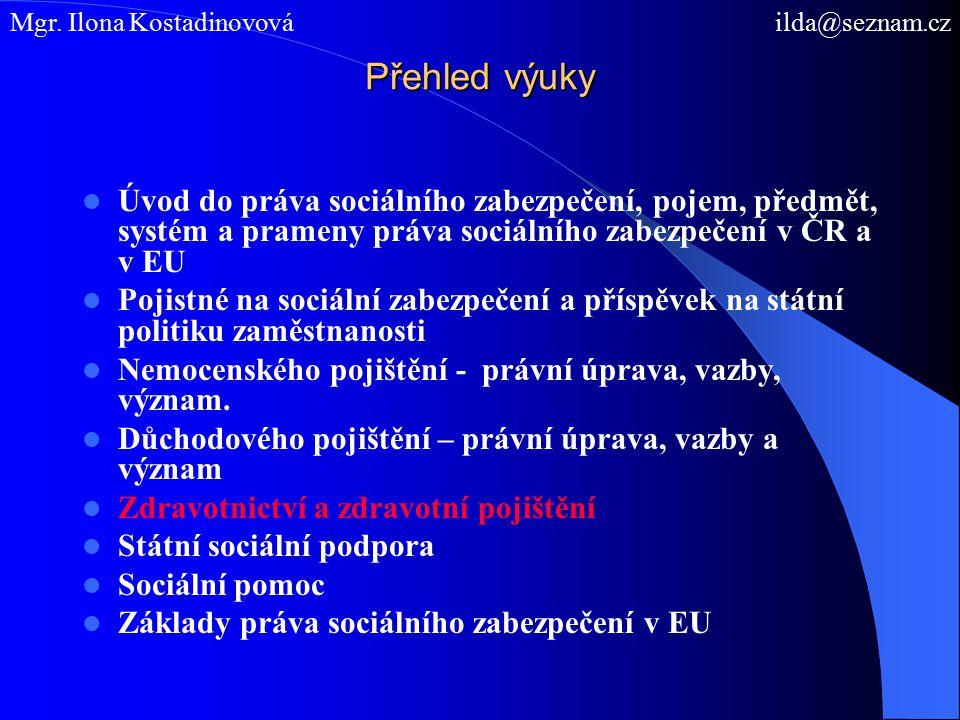 Přehled výuky Úvod do práva sociálního zabezpečení, pojem, předmět, systém a prameny práva sociálního zabezpečení v ČR a v EU Pojistné na sociální zab