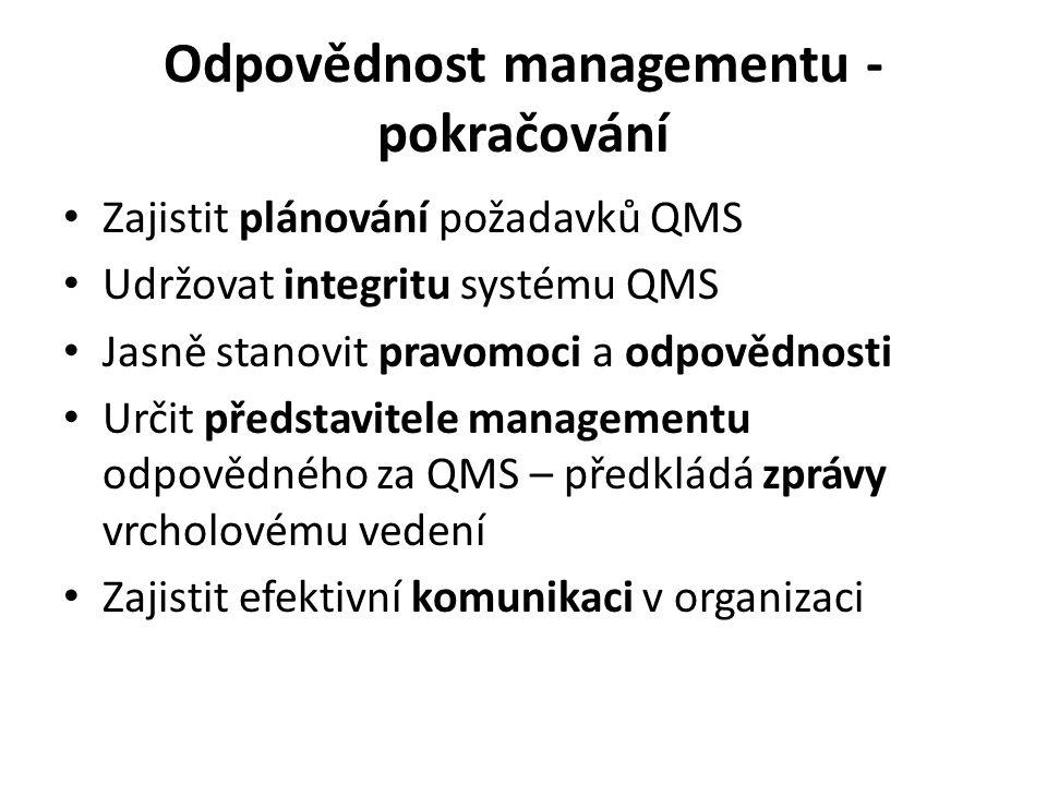 Přezkoumávání systému managementu Pro zajištění kontinuity vhodnosti, přiměřenosti a efektivnosti Zahrnuje posouzení příležitostí pro zlepšení a potřebu změn Záznamy z přezkoumán í se musí udržovat