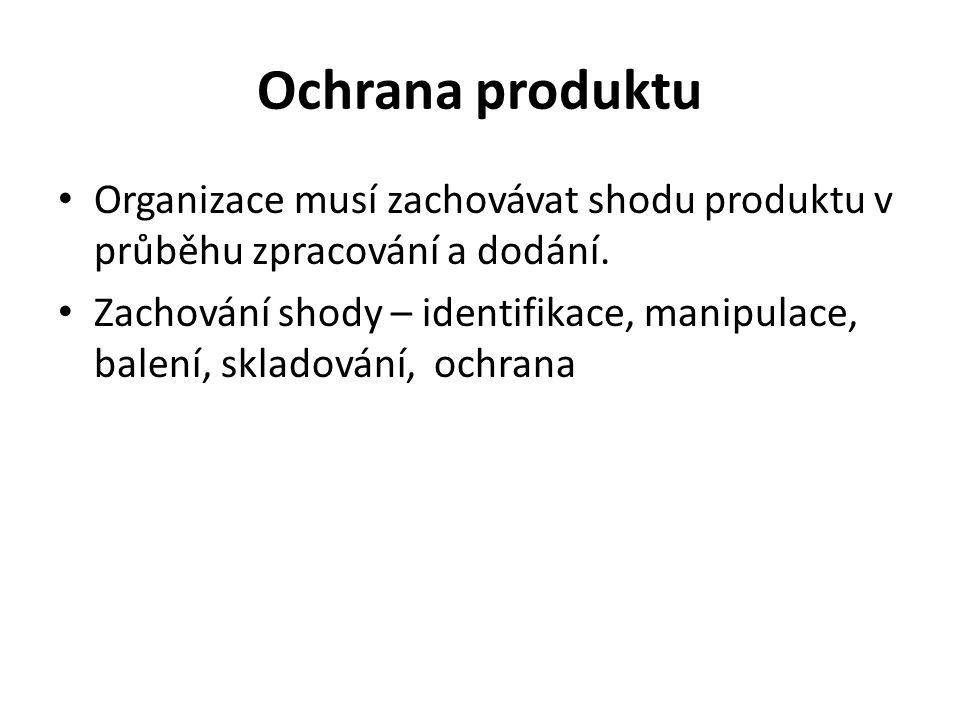 Ochrana produktu Organizace musí zachovávat shodu produktu v průběhu zpracování a dodání. Zachování shody – identifikace, manipulace, balení, skladová