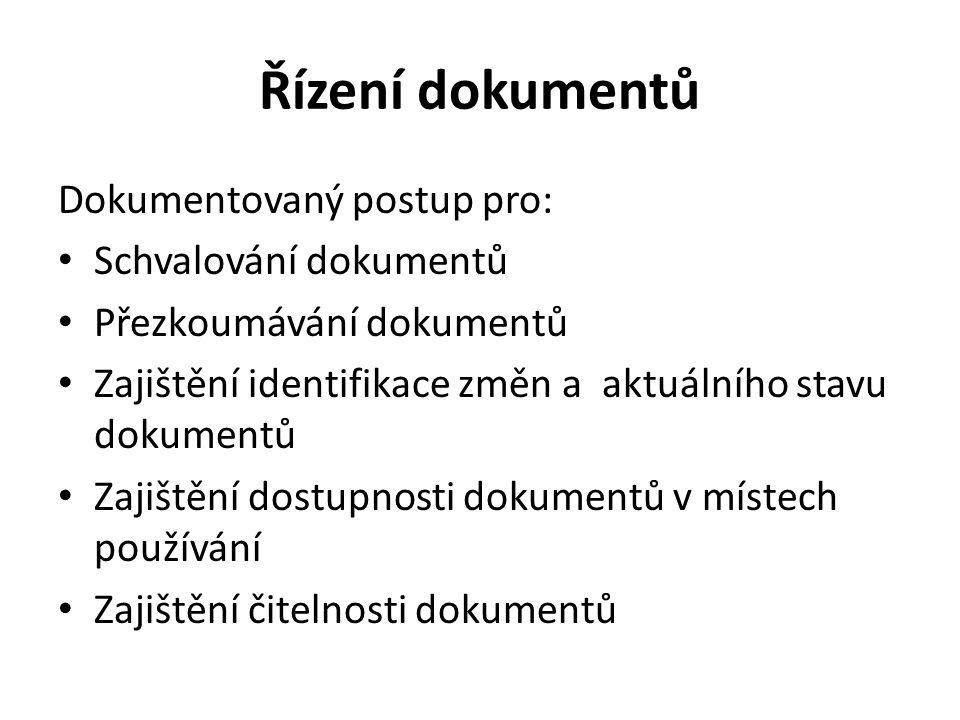 Řízení dokumentů - pokračování Zajištění identifikace dokumentů externího původu a řízení jejich distribuce Zabránění neúmyslného používání zastaralých dokumentů