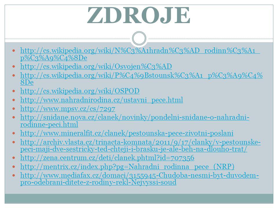 ZDROJE http://cs.wikipedia.org/wiki/N%C3%A1hradn%C3%AD_rodinn%C3%A1_ p%C3%A9%C4%8De http://cs.wikipedia.org/wiki/N%C3%A1hradn%C3%AD_rodinn%C3%A1_ p%C3%A9%C4%8De http://cs.wikipedia.org/wiki/Osvojen%C3%AD http://cs.wikipedia.org/wiki/P%C4%9Bstounsk%C3%A1_p%C3%A9%C4% 8De http://cs.wikipedia.org/wiki/P%C4%9Bstounsk%C3%A1_p%C3%A9%C4% 8De http://cs.wikipedia.org/wiki/OSPOD http://www.nahradnirodina.cz/ustavni_pece.html http://www.mpsv.cz/cs/7297 http://snidane.nova.cz/clanek/novinky/pondelni-snidane-o-nahradni- rodinne-peci.html http://snidane.nova.cz/clanek/novinky/pondelni-snidane-o-nahradni- rodinne-peci.html http://www.mineralfit.cz/clanek/pestounska-pece-zivotni-poslani http://archiv.vlasta.cz/trinacta-komnata/2011/9/17/clanky/v-pestounske- peci-maji-dve-sestricky-ted-chteji-i-brasku-je-ale-beh-na-dlouho-trat/ http://archiv.vlasta.cz/trinacta-komnata/2011/9/17/clanky/v-pestounske- peci-maji-dve-sestricky-ted-chteji-i-brasku-je-ale-beh-na-dlouho-trat/ http://zena.centrum.cz/deti/clanek.phtml?id=707356 http://mentrix.cz/index.php?pg=Nahradni_rodinna_pece_(NRP) http://www.mediafax.cz/domaci/3155945-Chudoba-nesmi-byt-duvodem- pro-odebrani-ditete-z-rodiny-rekl-Nejvyssi-soud http://www.mediafax.cz/domaci/3155945-Chudoba-nesmi-byt-duvodem- pro-odebrani-ditete-z-rodiny-rekl-Nejvyssi-soud