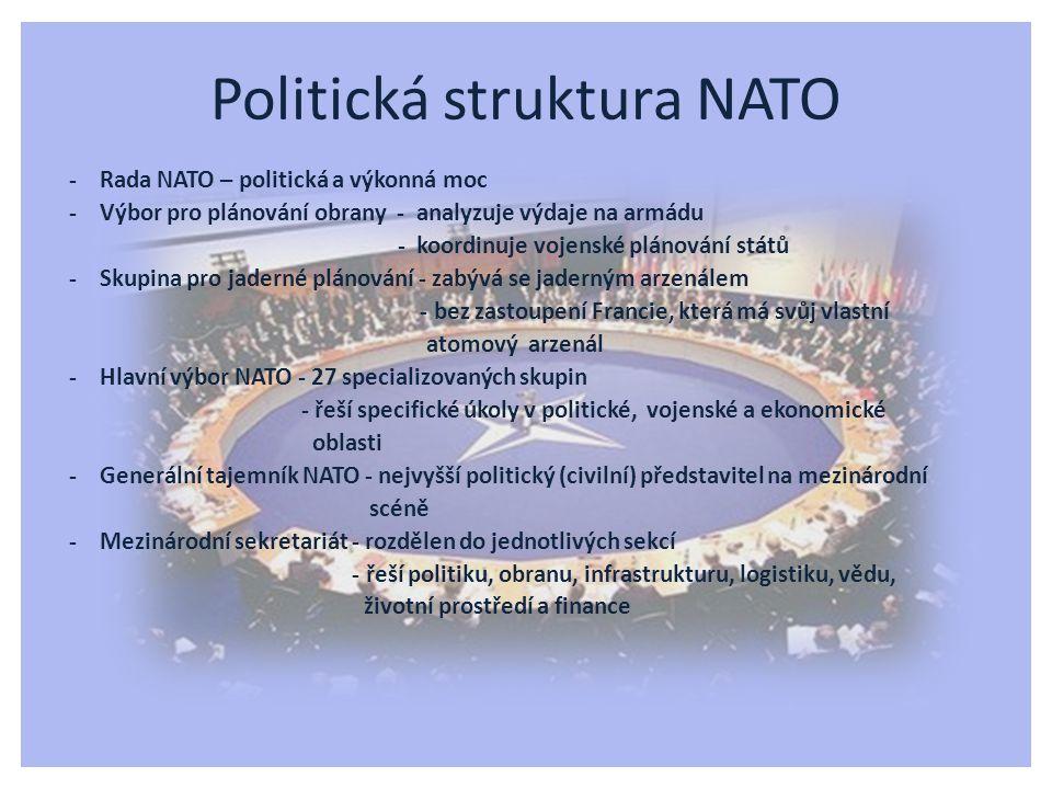 - Rada NATO – politická a výkonná moc - Výbor pro plánování obrany - analyzuje výdaje na armádu - koordinuje vojenské plánování států - Skupina pro ja