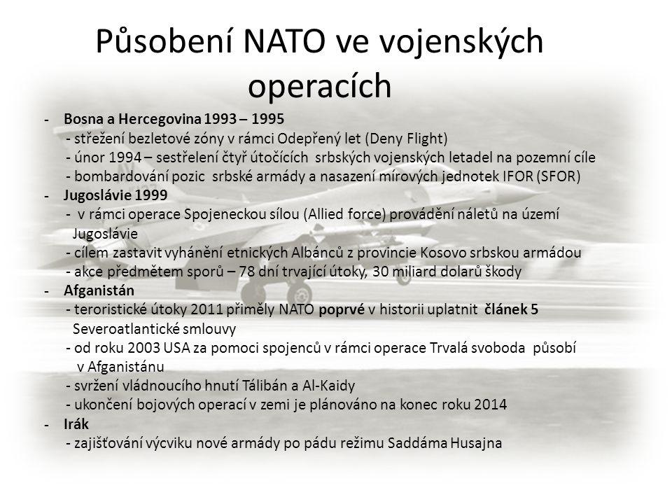 - Bosna a Hercegovina 1993 – 1995 - střežení bezletové zóny v rámci Odepřený let (Deny Flight) - únor 1994 – sestřelení čtyř útočících srbských vojens