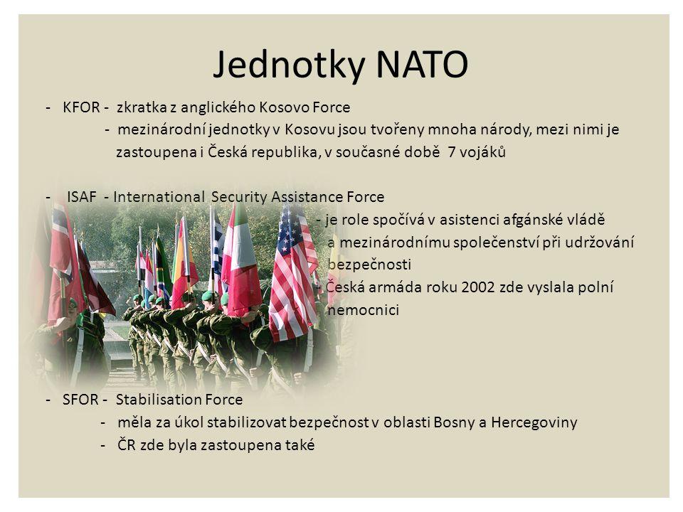 Jednotky NATO - KFOR - zkratka z anglického Kosovo Force - mezinárodní jednotky v Kosovu jsou tvořeny mnoha národy, mezi nimi je zastoupena i Česká re