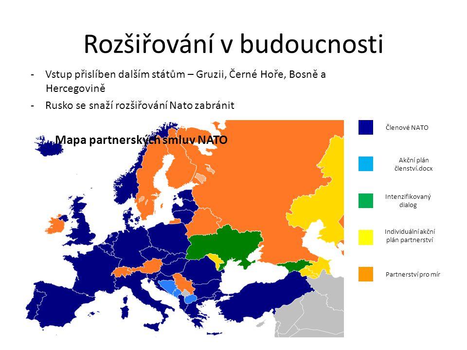Rozšiřování v budoucnosti - Vstup přislíben dalším státům – Gruzii, Černé Hoře, Bosně a Hercegovině - Rusko se snaží rozšiřování Nato zabránit Mapa pa