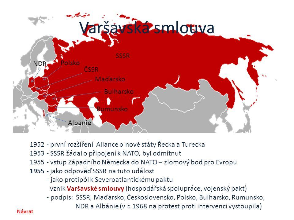 Varšavská smlouva 1952 - první rozšíření Aliance o nové státy Řecka a Turecka 1953 - SSSR žádal o připojení k NATO, byl odmítnut 1955 - vstup Západníh