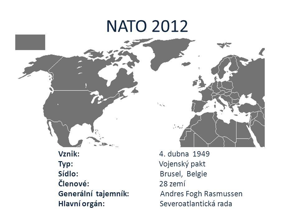 NATO 2012 Vznik: 4. dubna 1949 Typ: Vojenský pakt Sídlo: Brusel, Belgie Členové: 28 zemí Generální tajemník: Andres Fogh Rasmussen Hlavní orgán: Sever