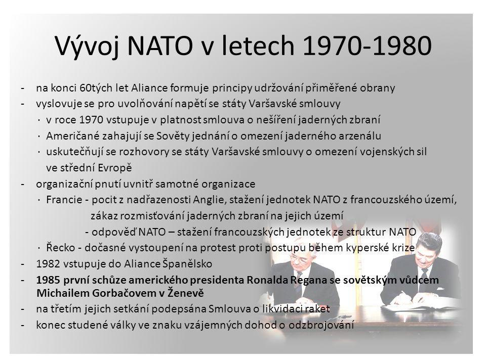 - na konci 60tých let Aliance formuje principy udržování přiměřené obrany - vyslovuje se pro uvolňování napětí se státy Varšavské smlouvy ∙ v roce 197