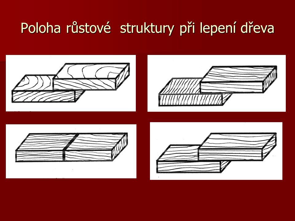 Poloha růstové struktury při lepení dřeva