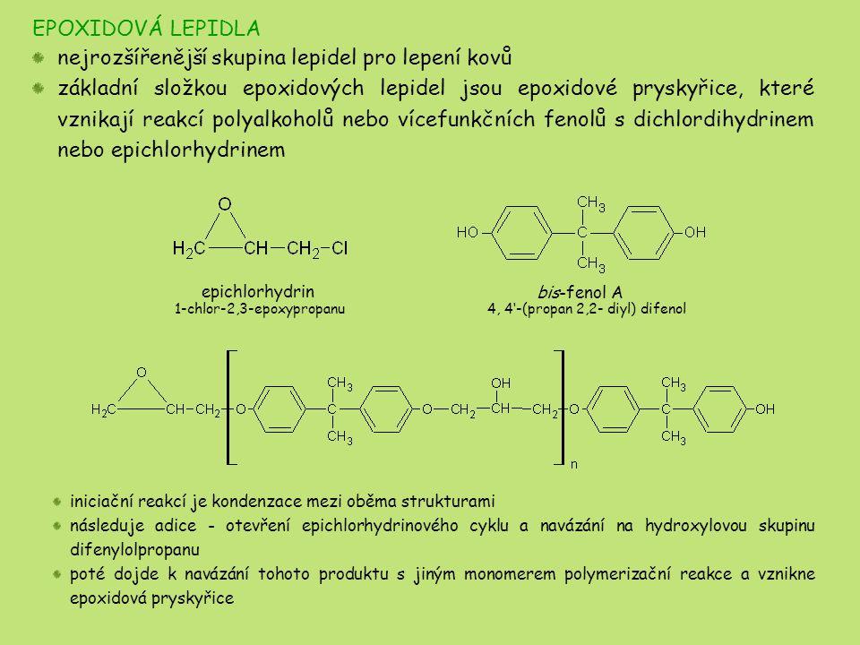 EPOXIDOVÁ LEPIDLA nejrozšířenější skupina lepidel pro lepení kovů základní složkou epoxidových lepidel jsou epoxidové pryskyřice, které vznikají reakc