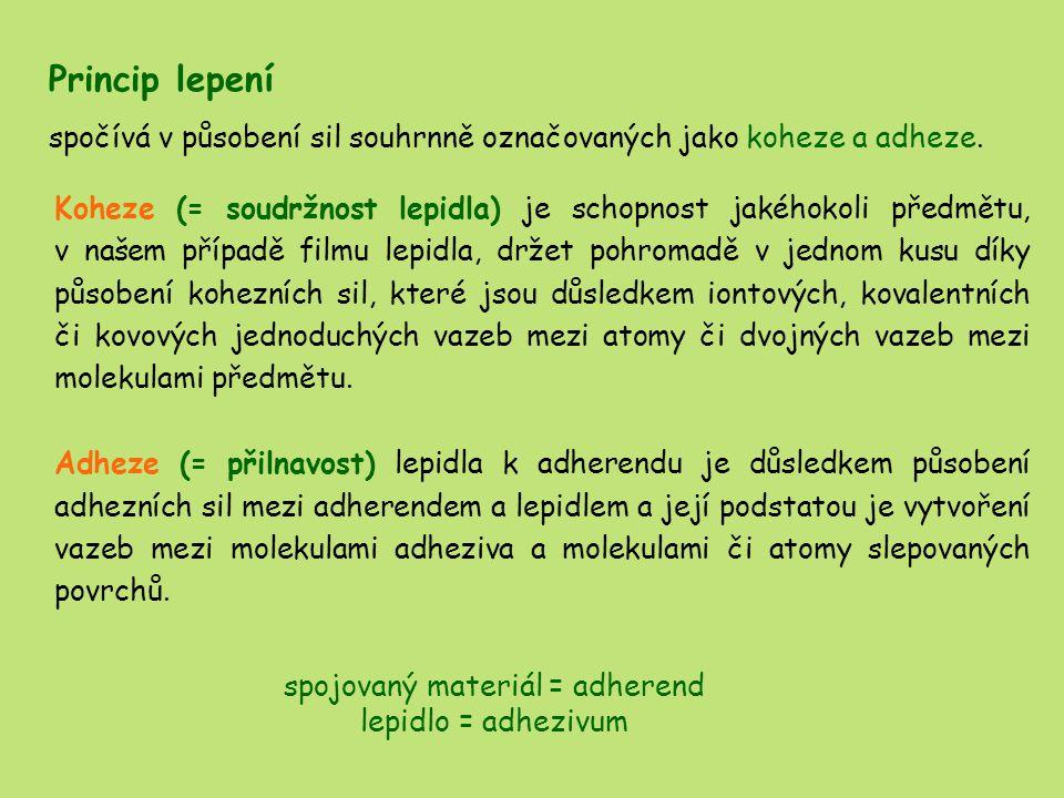 EPOXIDOVÁ LEPIDLA nejrozšířenější skupina lepidel pro lepení kovů základní složkou epoxidových lepidel jsou epoxidové pryskyřice, které vznikají reakcí polyalkoholů nebo vícefunkčních fenolů s dichlordihydrinem nebo epichlorhydrinem epichlorhydrin bis-fenol A 1-chlor-2,3-epoxypropanu4, 4'-(propan 2,2- diyl) difenol iniciační reakcí je kondenzace mezi oběma strukturami následuje adice - otevření epichlorhydrinového cyklu a navázání na hydroxylovou skupinu difenylolpropanu poté dojde k navázání tohoto produktu s jiným monomerem polymerizační reakce a vznikne epoxidová pryskyřice