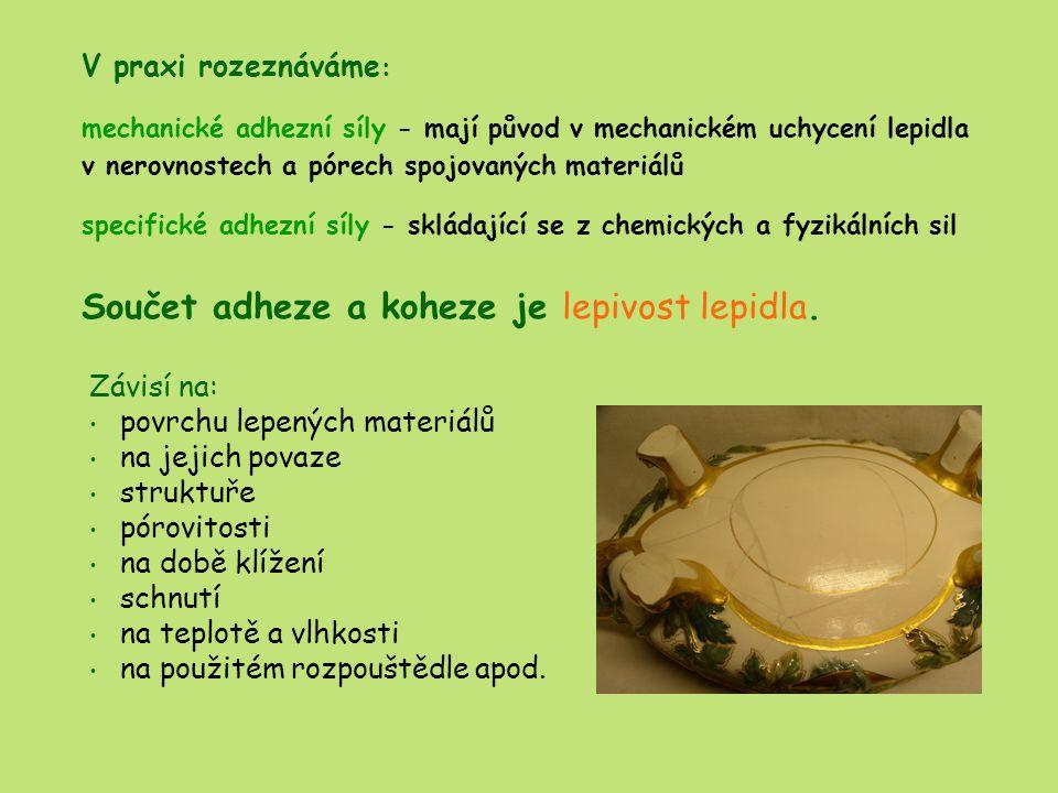 LEPIDLA ŠKROBOVÁ A DEXTRINOVÁ základní surovinou je škrob bramborový, pšeničný, kukuřičný aj.
