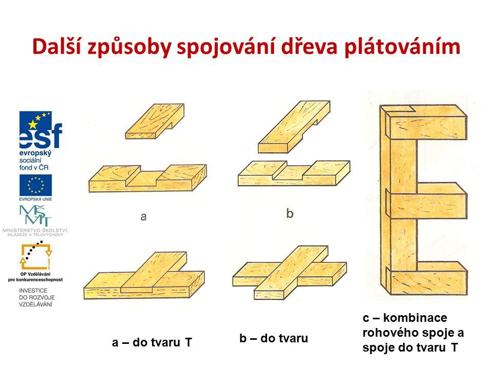 Další způsoby spojování dřeva plátováním a – do tvaru T b – do tvaru c – kombinace rohového spoje a spoje do tvaru T