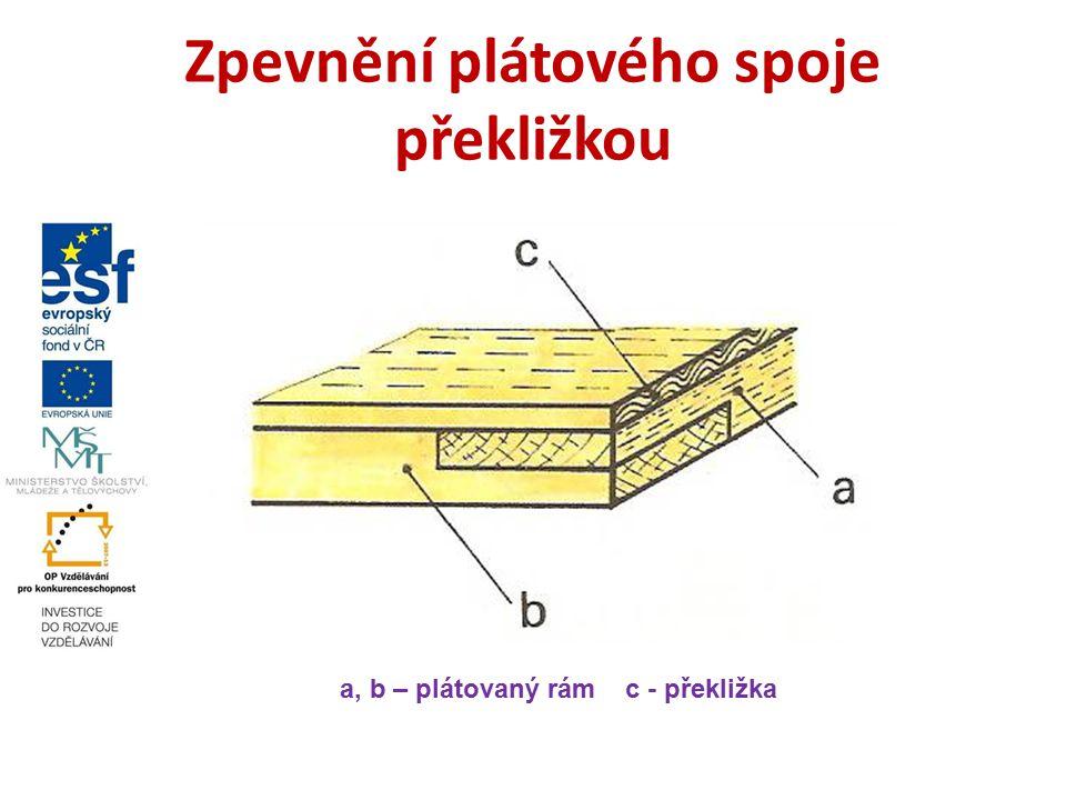 Zpevnění plátového spoje překližkou a, b – plátovaný rám c - překližka