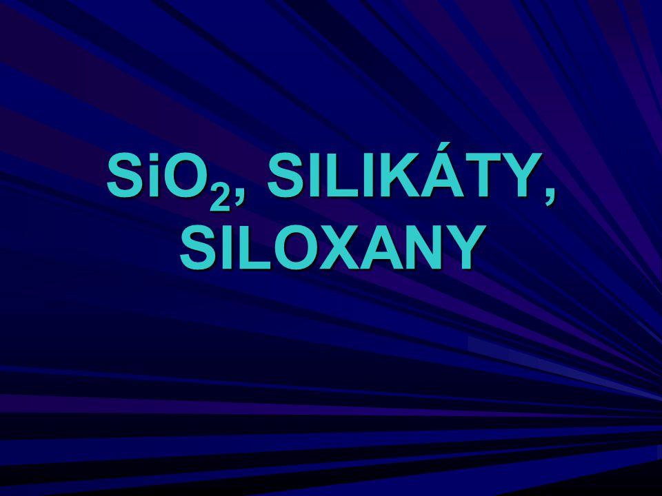 Siloxany (silikony) silikonové oleje – třepáním O(SiMe 3 ) 2 a cyklo- (Me 2 SiO) 4 s malým množstvím konc.