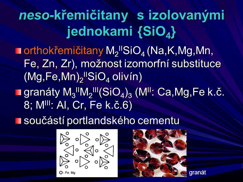 neso-křemičitany s izolovanými jednokami {SiO 4 } orthokřemičitany M 2 II SiO 4 (Na,K,Mg,Mn, Fe, Zn, Zr), možnost izomorfní substituce (Mg,Fe,Mn) 2 II