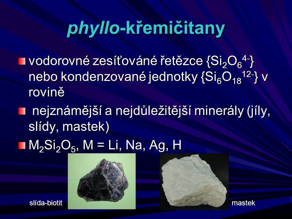 phyllo-křemičitany vodorovné zesíťováné řetězce {Si 2 O 6 4- } nebo kondenzované jednotky {Si 6 O 18 12- } v rovině nejznámější a nejdůležitější miner