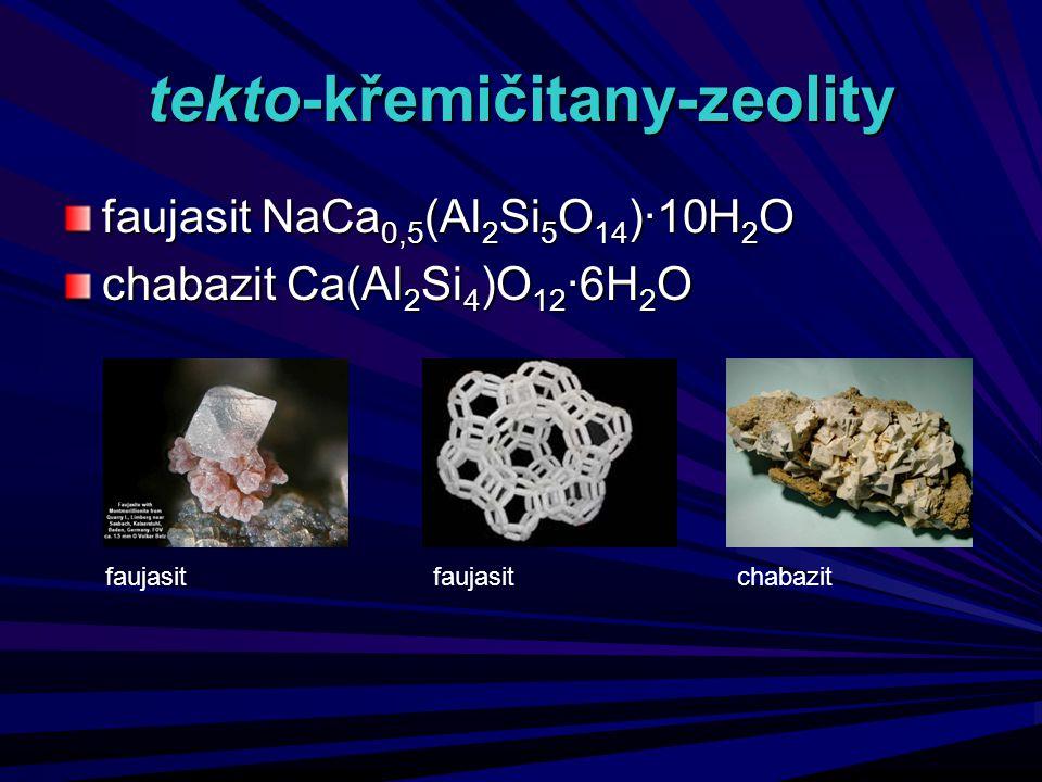 tekto-křemičitany-zeolity faujasit NaCa 0,5 (Al 2 Si 5 O 14 )·10H 2 O chabazit Ca(Al 2 Si 4 )O 12 ·6H 2 O faujasit chabazit