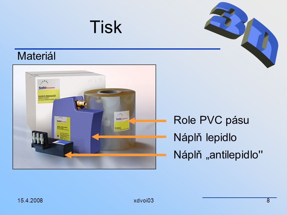 "15.4.2008xdvoi038 Tisk Materiál Role PVC pásu Náplň lepidlo Náplň ""antilepidlo''"