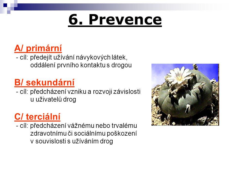 6. Prevence A/ primární - cíl: předejít užívání návykových látek, oddálení prvního kontaktu s drogou B/ sekundární - cíl: předcházení vzniku a rozvoji