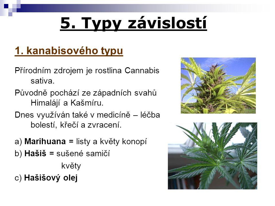 5. Typy závislostí 1. kanabisového typu Přírodním zdrojem je rostlina Cannabis sativa. Původně pochází ze západních svahů Himalájí a Kašmíru. Dnes vyu