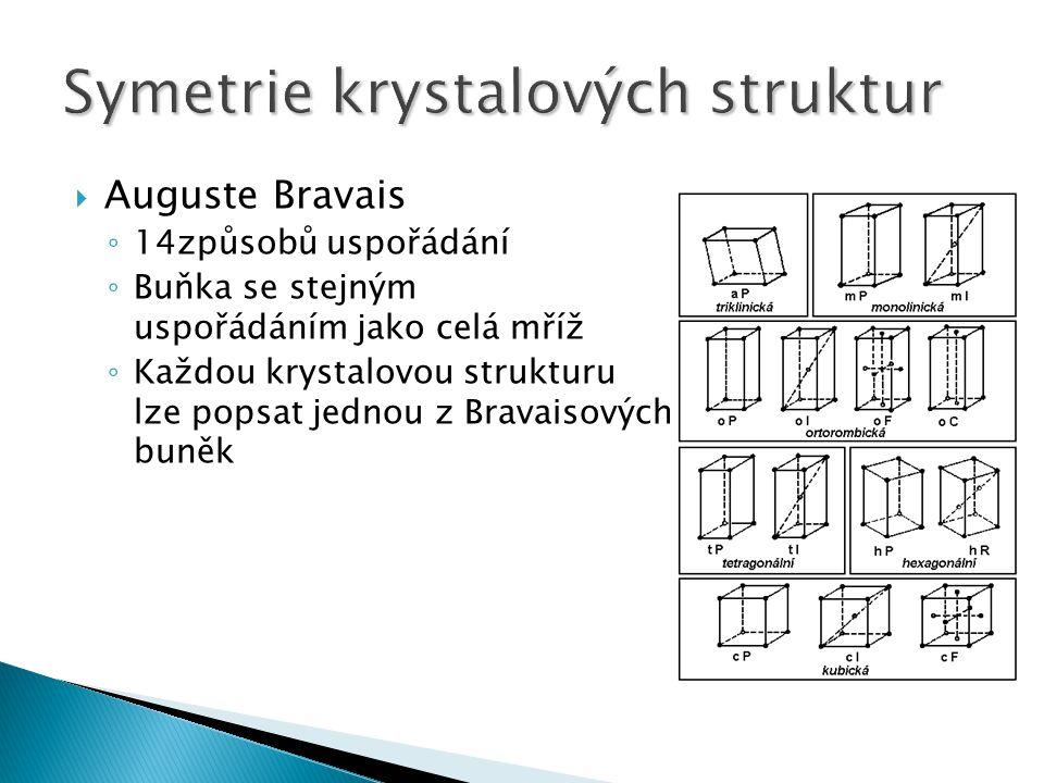  Auguste Bravais ◦ 14způsobů uspořádání ◦ Buňka se stejným uspořádáním jako celá mříž ◦ Každou krystalovou strukturu lze popsat jednou z Bravaisových buněk