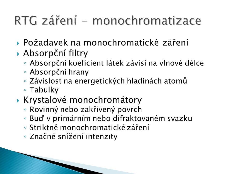  Požadavek na monochromatické záření  Absorpční filtry ◦ Absorpční koeficient látek závisí na vlnové délce ◦ Absorpční hrany ◦ Závislost na energetických hladinách atomů ◦ Tabulky  Krystalové monochromátory ◦ Rovinný nebo zakřivený povrch ◦ Buď v primárním nebo difraktovaném svazku ◦ Striktně monochromatické záření ◦ Značné snížení intenzity