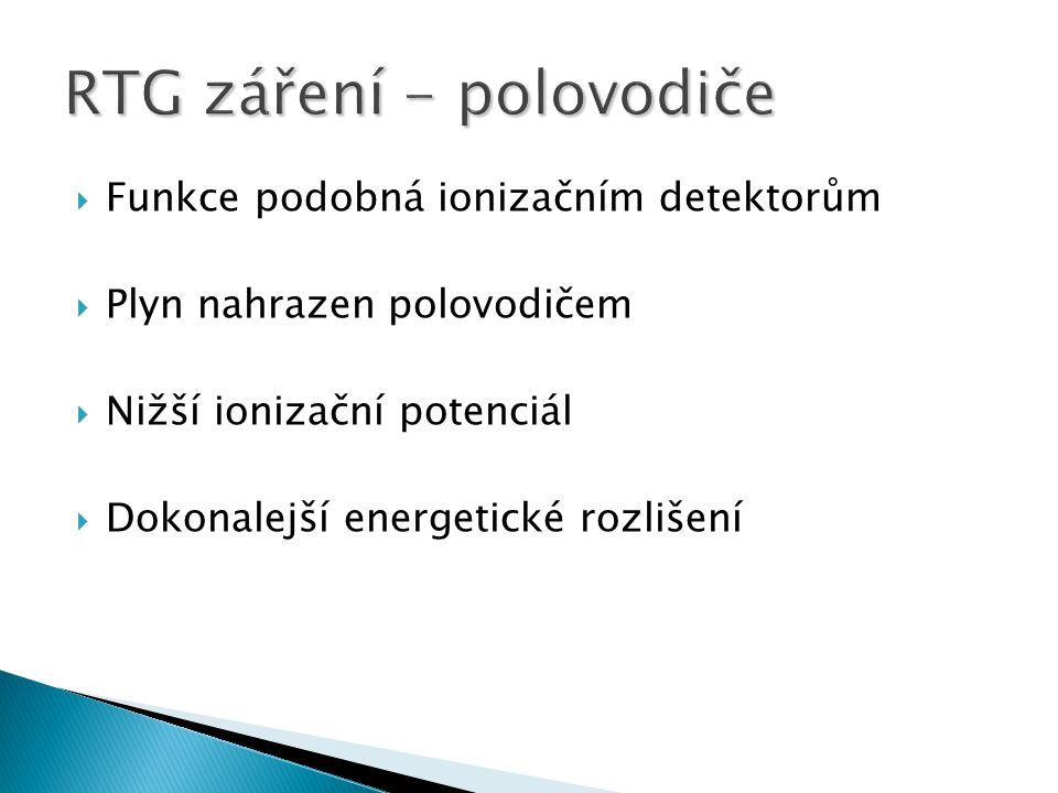  Funkce podobná ionizačním detektorům  Plyn nahrazen polovodičem  Nižší ionizační potenciál  Dokonalejší energetické rozlišení