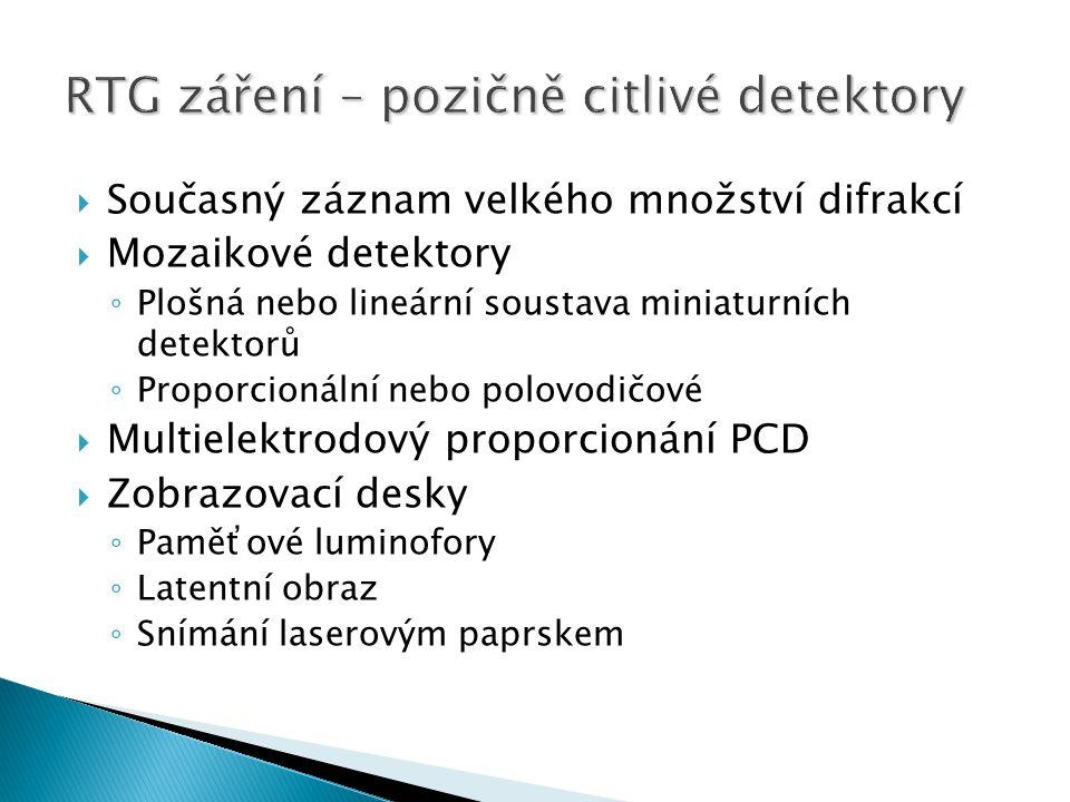  Současný záznam velkého množství difrakcí  Mozaikové detektory ◦ Plošná nebo lineární soustava miniaturních detektorů ◦ Proporcionální nebo polovod