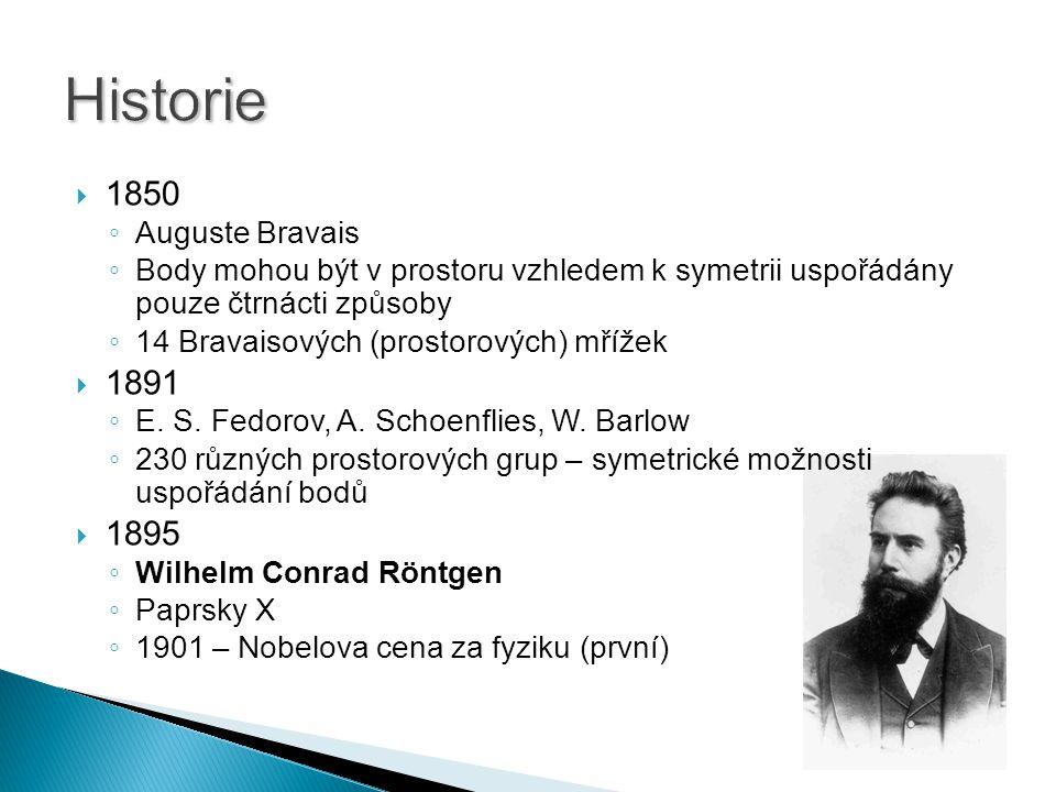  1912 ◦ Max Theodor Felix von Laue ◦ První rentgenová difrakční metoda ◦ W.