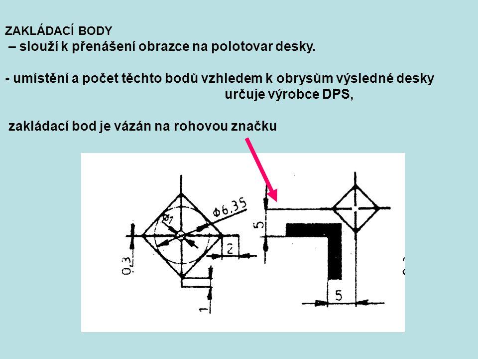 ZAKLÁDACÍ BODY – slouží k přenášení obrazce na polotovar desky. - umístění a počet těchto bodů vzhledem k obrysům výsledné desky určuje výrobce DPS, z