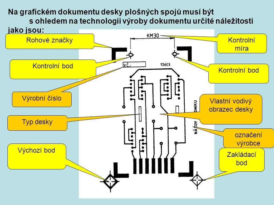 Na grafickém dokumentu desky plošných spojů musí být s ohledem na technologii výroby dokumentu určité náležitosti jako jsou: Kontrolní míra Rohové zna
