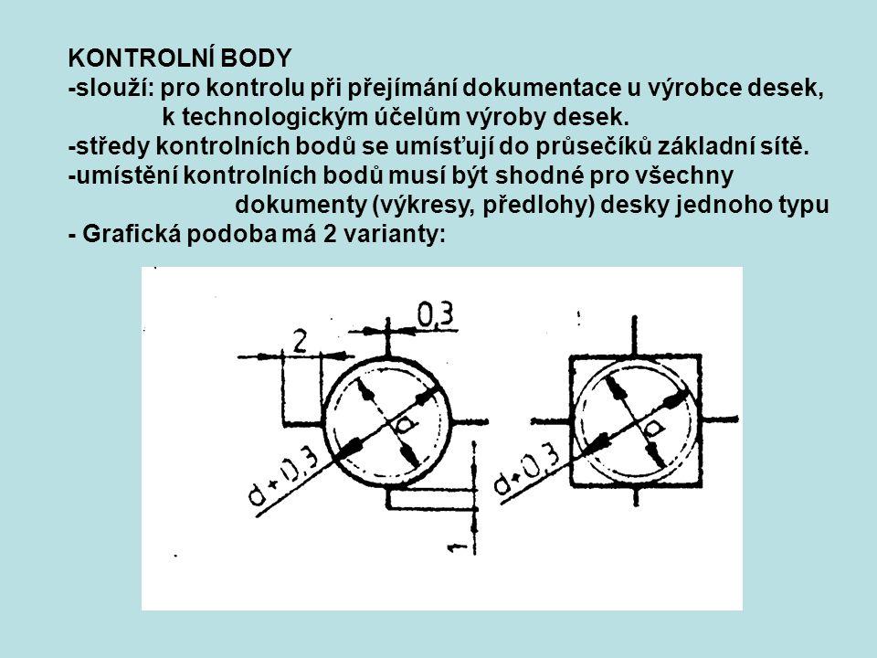 KONTROLNÍ BODY -slouží: pro kontrolu při přejímání dokumentace u výrobce desek, k technologickým účelům výroby desek. -středy kontrolních bodů se umís