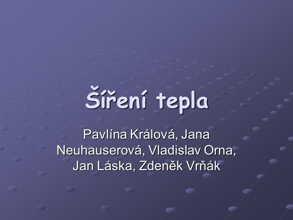 Šíření tepla Pavlína Králová, Jana Neuhauserová, Vladislav Orna, Jan Láska, Zdeněk Vrňák