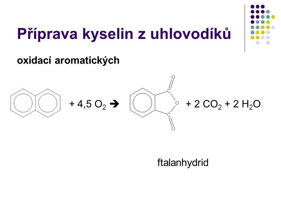 Příprava kyselin z uhlovodíků oxidací aromatických + 4,5 O 2  + 2 CO 2 + 2 H 2 O ftalanhydrid