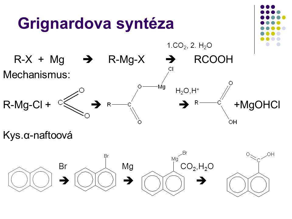 Grignardova syntéza 1.CO 2, 2. H 2 O R-X + Mg  R-Mg-X  RCOOH Mechanismus: H 2 O,H + R-Mg-Cl +   +MgOHCl Kys.α-naftoová Br Mg CO 2,H 2 O   