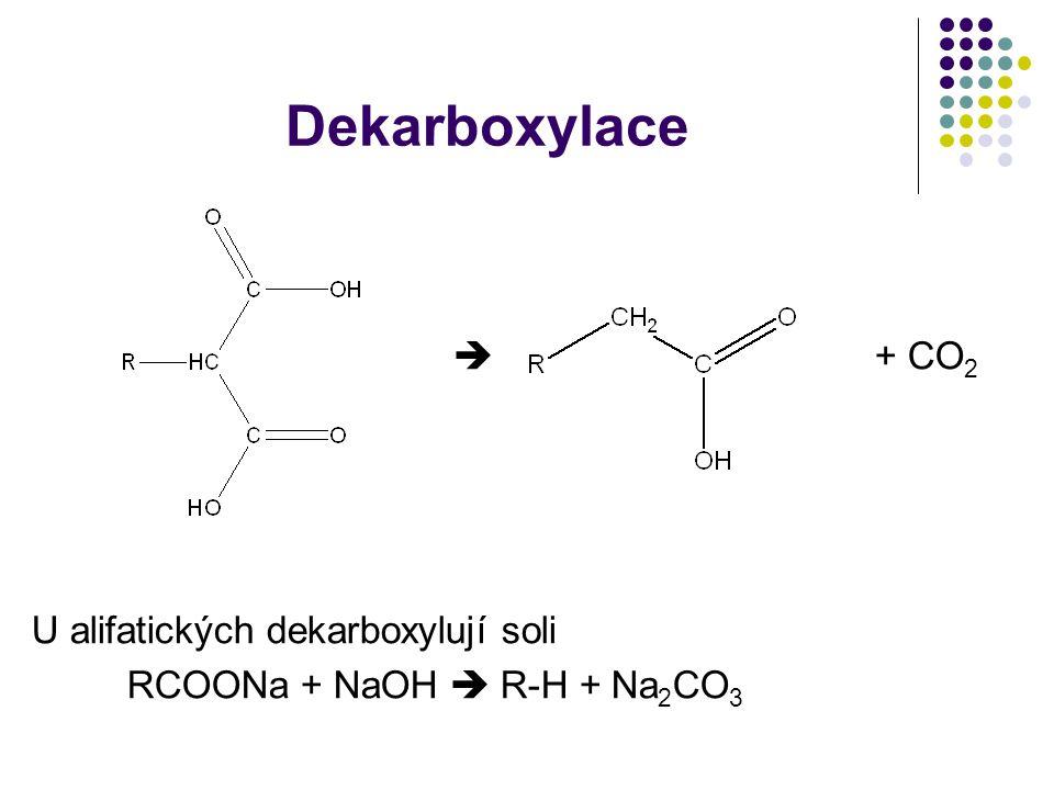 Dekarboxylace  + CO 2 U alifatických dekarboxylují soli RCOONa + NaOH  R-H + Na 2 CO 3