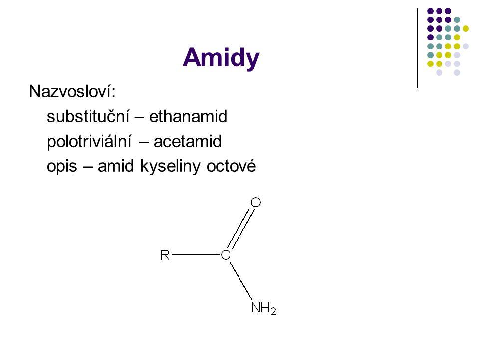 Amidy Nazvosloví: substituční – ethanamid polotriviální – acetamid opis – amid kyseliny octové