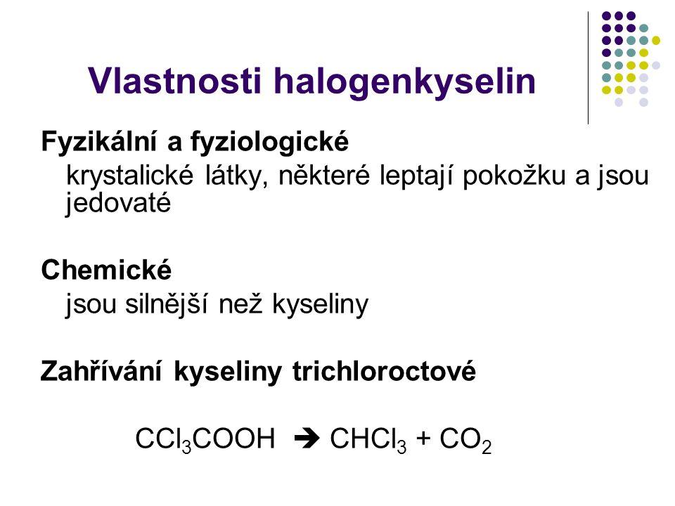 Vlastnosti halogenkyselin Fyzikální a fyziologické krystalické látky, některé leptají pokožku a jsou jedovaté Chemické jsou silnější než kyseliny Zahřívání kyseliny trichloroctové CCl 3 COOH  CHCl 3 + CO 2