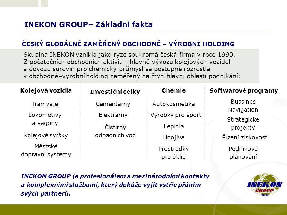 INEKON GROUP– Základní fakta INEKON GROUP je profesionálem s mezinárodními kontakty a komplexními službami, který dokáže vyjít vstříc přáním svých partnerů.