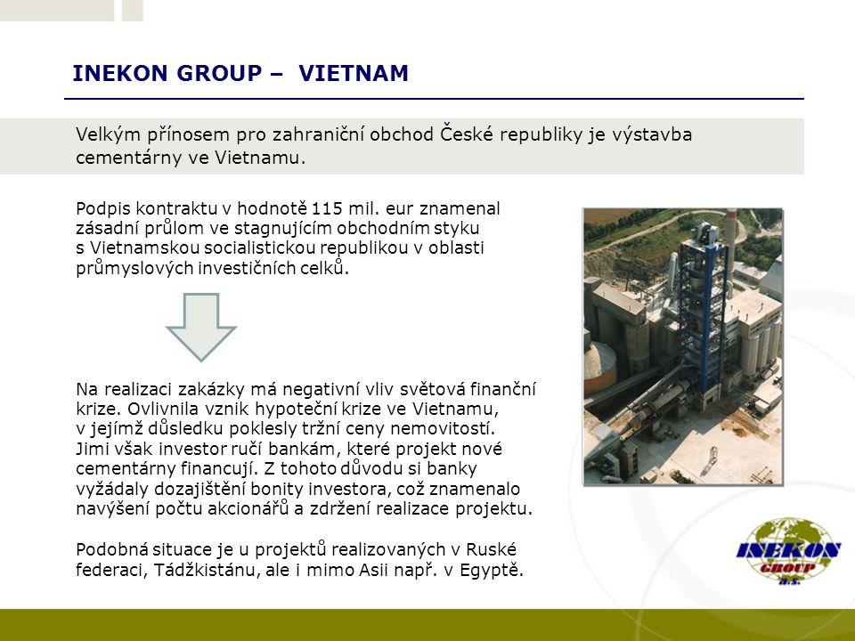 INEKON GROUP – VIETNAM Na realizaci zakázky má negativní vliv světová finanční krize.