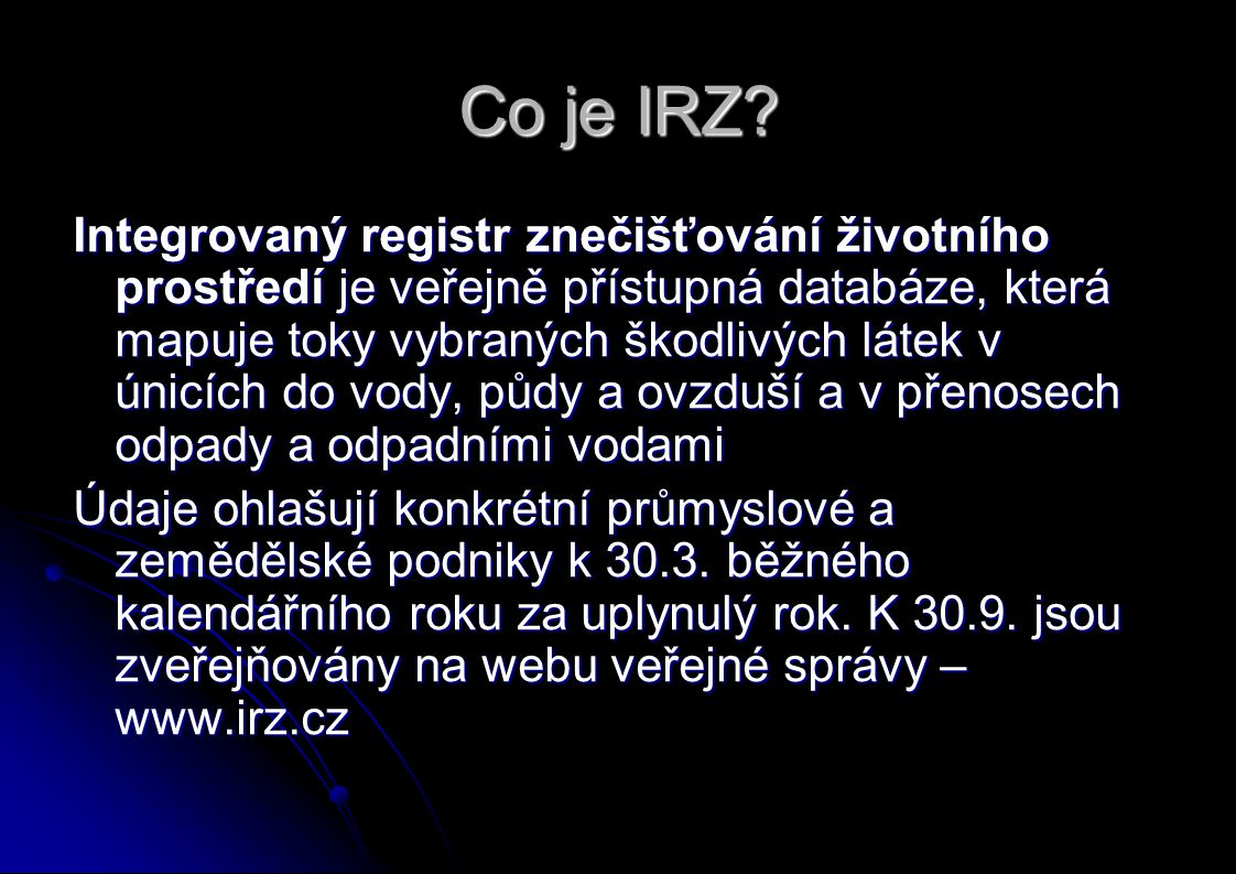Co je IRZ.