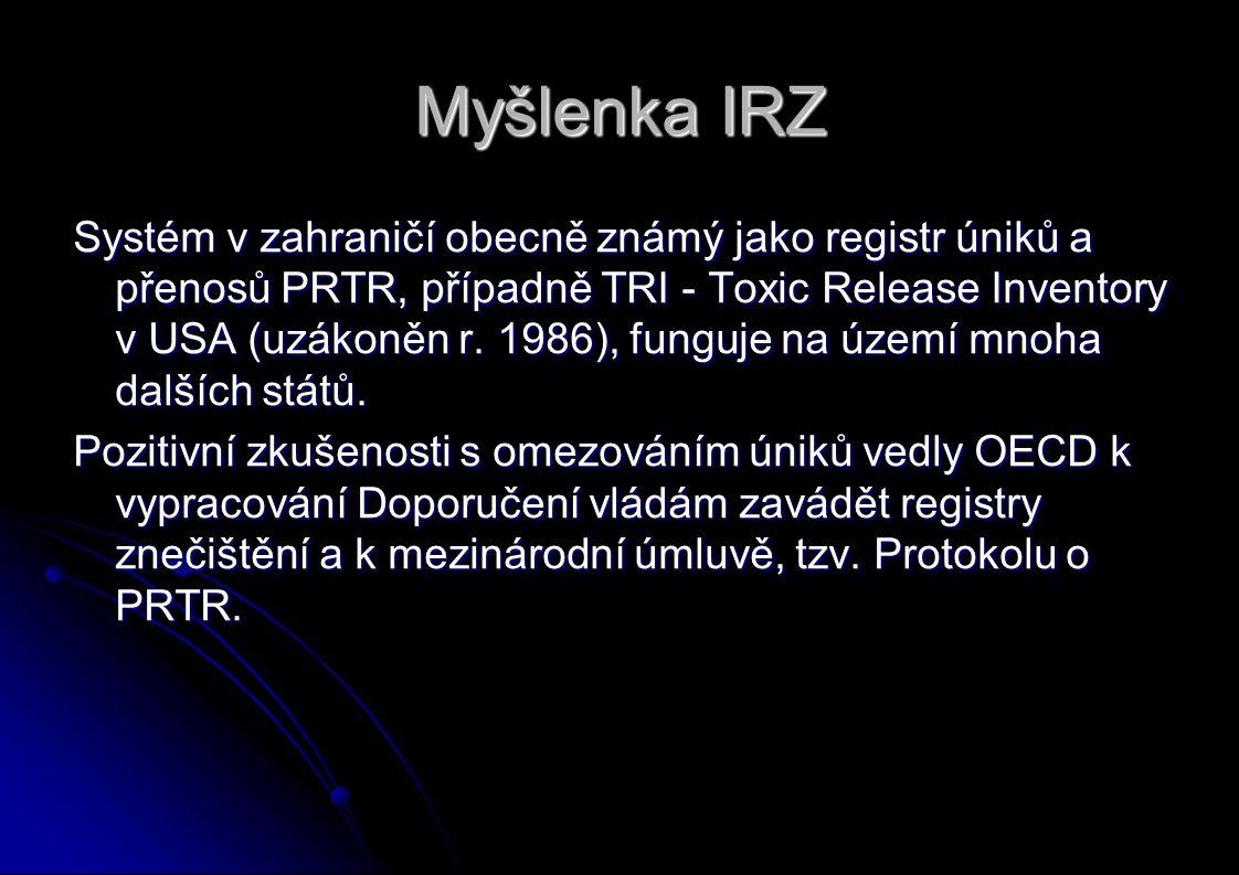 Myšlenka IRZ Systém v zahraničí obecně známý jako registr úniků a přenosů PRTR, případně TRI - Toxic Release Inventory v USA (uzákoněn r.