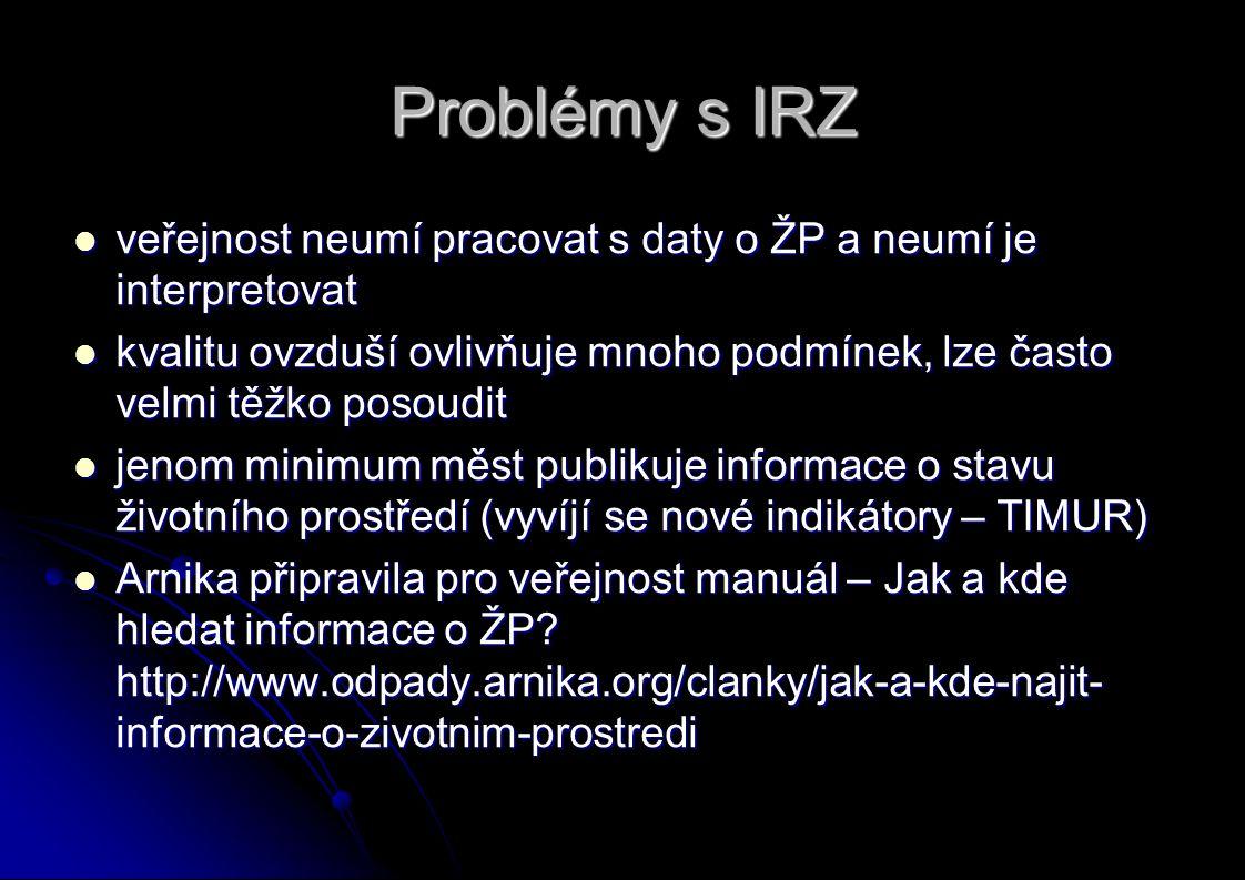 Problémy s IRZ veřejnost neumí pracovat s daty o ŽP a neumí je interpretovat veřejnost neumí pracovat s daty o ŽP a neumí je interpretovat kvalitu ovzduší ovlivňuje mnoho podmínek, lze často velmi těžko posoudit kvalitu ovzduší ovlivňuje mnoho podmínek, lze často velmi těžko posoudit jenom minimum měst publikuje informace o stavu životního prostředí (vyvíjí se nové indikátory – TIMUR) jenom minimum měst publikuje informace o stavu životního prostředí (vyvíjí se nové indikátory – TIMUR) Arnika připravila pro veřejnost manuál – Jak a kde hledat informace o ŽP.
