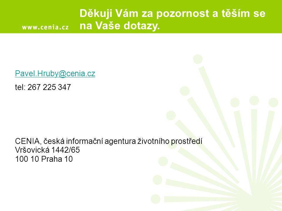 Děkuji Vám za pozornost a těším se na Vaše dotazy. Pavel.Hruby@cenia.cz tel: 267 225 347 CENIA, česká informační agentura životního prostředí Vršovick