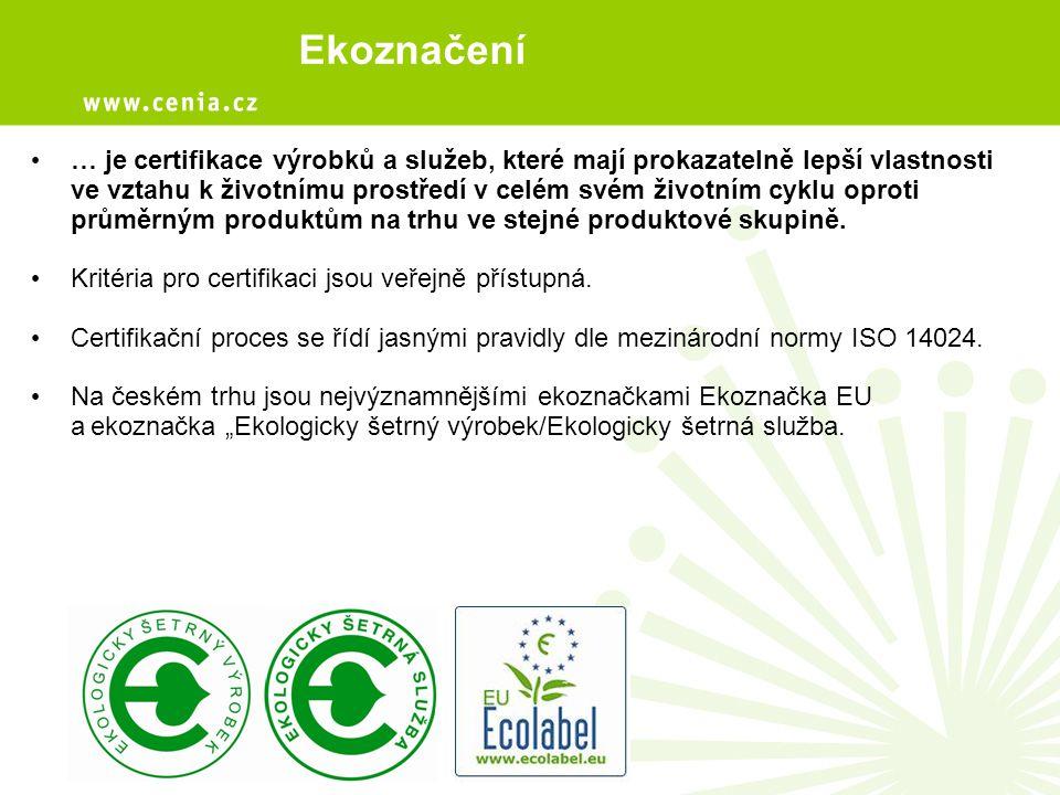 … je certifikace výrobků a služeb, které mají prokazatelně lepší vlastnosti ve vztahu k životnímu prostředí v celém svém životním cyklu oproti průměrn