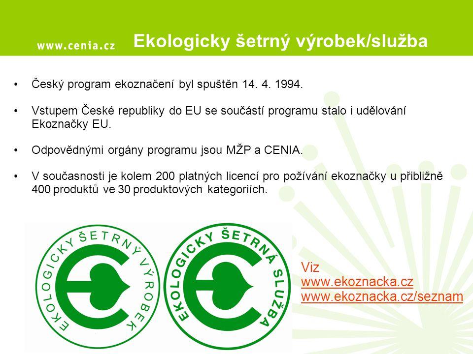 Český program ekoznačení byl spuštěn 14. 4. 1994. Vstupem České republiky do EU se součástí programu stalo i udělování Ekoznačky EU. Odpovědnými orgán